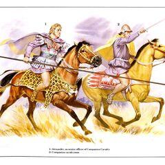 1. Александр в качестве командира кавалерии гетайров; 2. Кавалерист-гетайр.