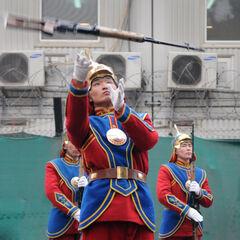 Воин почетного караула жонглирует <a href=