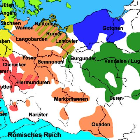 Оранжевая область соответствует распространению племён свевов в I веке н. э. Территории маркоманов в центре.