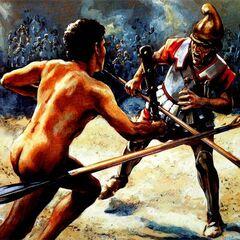 Поединок раба, вооруженного дубиной, и <a href=