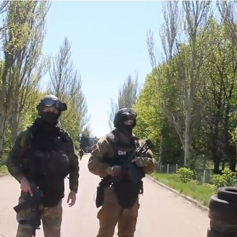 Бойцы CБУ под Краматорском, Донецкая область.