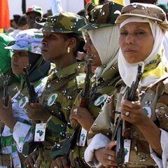 Амазонки с нашивками, на которых изображен силуэт материка Африка. Это связано с тем, что Каддафи считал себя королем всей Африки.