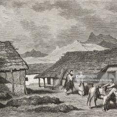 Поселок у Коттора, 1876 г. Автор гравюры — Теодор Валерио.