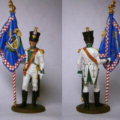 Оловянная миниатюра. Младший лейтенант-знаменосец 5-го линейного полка.
