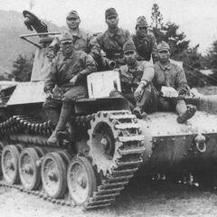 Экипаж японского танка Тип 97 из состава 3-й танковой дивизии на отдыхе в Китае. Операция