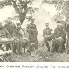 Миливой Стоянович, командир Железного полка, со штабом.