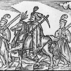 Офицер с гайдуками, 1578 год.
