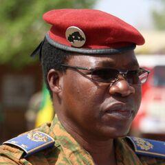Современный бригадный генерал в полевой униформе. Примечательна эмблема на берете генерала — две звезды, обозначающие звание, на французский манер, на фоне силуэта страны.