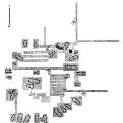 Урочище. Коломыйщина. Схематический план поселения. Обозначения сплошной линией — раскопанные жилища, точками —