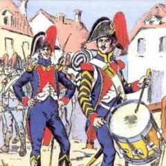 Офицер и барабанщик тиральеров По, 1805 г.