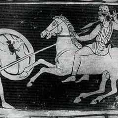 Спартанец (слева) в пилосе и со щитом.