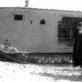 Собранный корпус танка A7VU на перекомпонованном шасси A7V № 524. Испытательный полигон