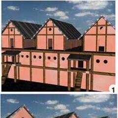 Реконструкция внешнего вида укреплений центрального овала застройки поселения Майданецкое. Виды снаружи и с внутренней стороны поселения.