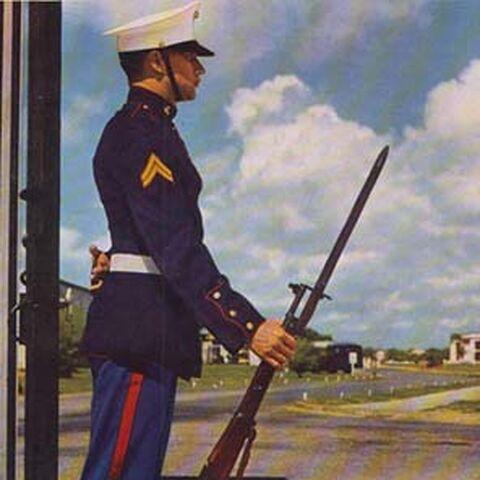 Капрал морской пехоты США с винтовкой Springfield 1903 и примкнутым штык-ножом образца 1905 г.