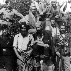 Группа четников вместе с немецкими (австрийскими) танкистами.