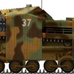 43M Zrínyi II с экранами, 3-я батарея, 1-й батальон штурмовых орудий, Галиция, лето 1944 года.