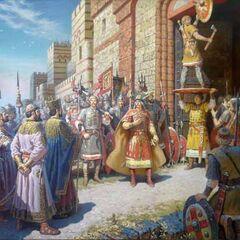 Олег прибивает свой щит на врата Царграда.