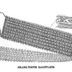 Самоанская боевая перчатка с акульими зубами, гравюра Джона Георга Вуда 1870 года.