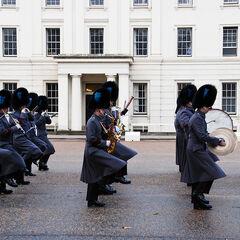 Музыканты Ирландского полка в зимней форме.