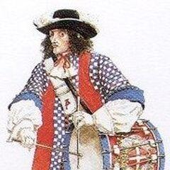 Полковой барабанщик. Униформа барабанщиков была намного красивее и эстетичнее солдатской, ибо в их задачи входила лишь игра на барабане. В битвах они не сражались, и поэтому думать об особой комфортабельности не приходилось.