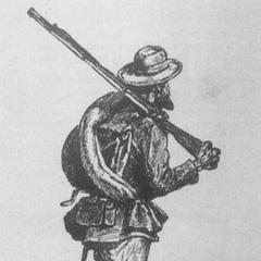 Этот конфедератский пехотинец нарисован со скаткой из одеяла поверх ранца. На ремне у него патронташ и ножны для штыка. Он заправил низ брюк в носки.