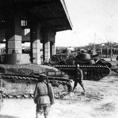 Тип 89 и Рено Отцу в танковом парке, начало 1930-х годов.