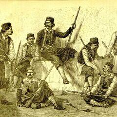 Вооруженные члены клана Кривошеи из Старой Герцеговины, Черногория. Гравюра впервые опубликована в ежегодном календаре (журнале)