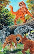Схватка Огнезвезда, Крутобока, Листвички и Пепелицы с отрядом Ржавницы, Восход луны золото