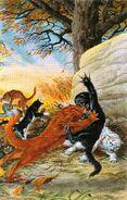 Огнезвезд возвращается в бой, потеряв первую жизнь, Битва за лес золото