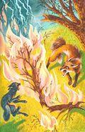 Синелапка не дает лисе пробраться в Грозовой лагерь, Пророчество Синей Звезды золото