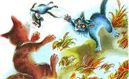 Сугробик и Светлячок играют с мышью Закон племён