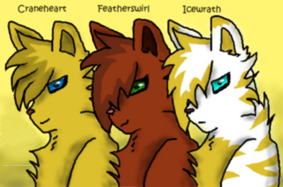Craneheart, Featherswirl, and Icewrath of RiverClan