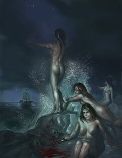 850 9104 Sirens 2d fantasy sirens ocean ship skulls picture image digital art