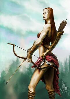 Amazon warrior woman with bow arrow and armor-1-