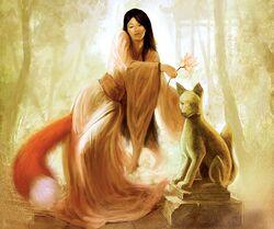 Fox spirit sunlight fantasy graceful woman-hd-wallpaper-283524
