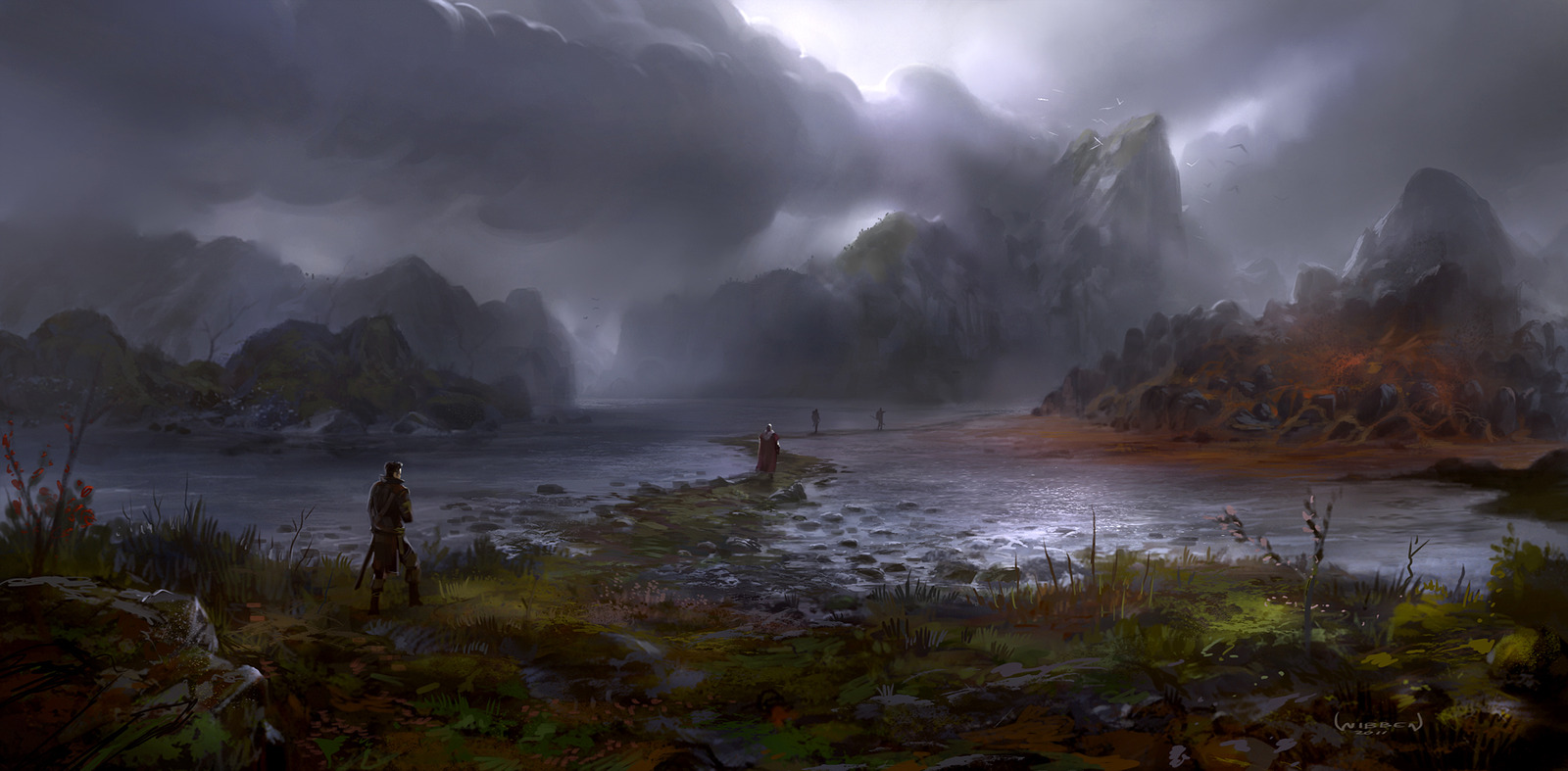 Image - 1600x787 7300 The Red Shallows 2d fantasy landscape water ... for Fantasy Water Landscape  56mzq