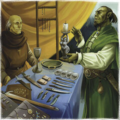 Half-Orcs haggle in the marketplace...