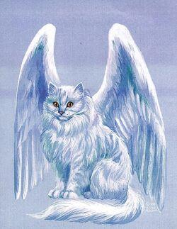 Winged cat, blue