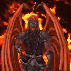 Rather than hide them, Zar uses his magic to exaggerate his demonic roots...