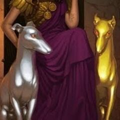 King Alcinous' daughter, with her father's dogs, Chrysos and Argyros...