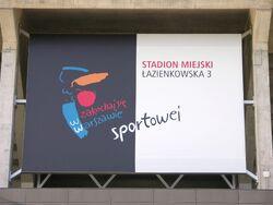 Tablica zakochaj się w Warszawie Sportowej na stadionie na Łazienkowskiej