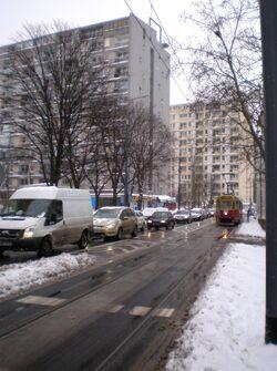 Aleja Solidarności zimą