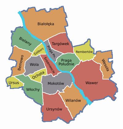 mapa warszawy dzielnice Mapa Warszawa Dzielnice | Mapa