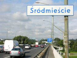 Granica Środmieścia i Pragi Południe na Moście Łazienkowskim