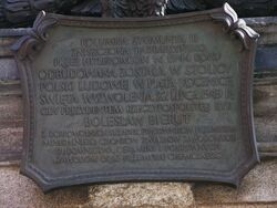 Tablica upamietniajaca odbudowe Kolumny Zygmunta 1949