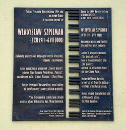 Tablica Władysław Szpilman al. Niepodległości 223