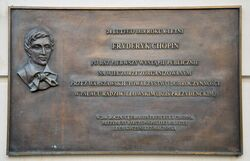 Tablica upamiętniająca pierwszy koncert Chopina Pałac Prezydencki