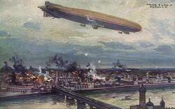Niemcy bombardują Warszawę 1914