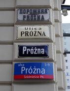 Próżna (stare tabliczki z nazwami ulic)