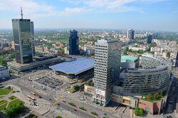 Hotel Marriott, Dworzec Centralny i Złote Tarasy widziane z PKiN